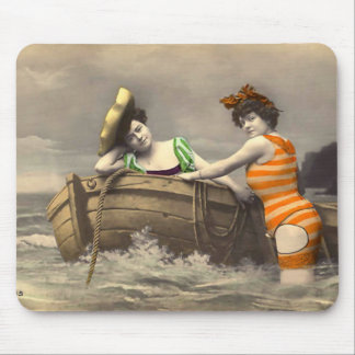 Scanadlous Striped Bathing Suit Mouse Pad