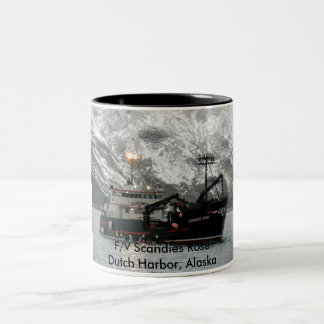 Scandies Rose, Crab Boat in Dutch Harbor, Alaska Two-Tone Coffee Mug