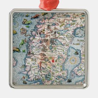 Scandinavia, detail from the Carta Marina Christmas Tree Ornaments