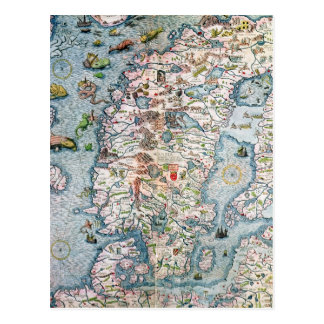 Scandinavia, detail from the Carta Marina Post Cards