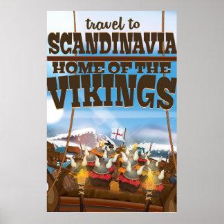 Scandinavia home of the vikings cartoon poster