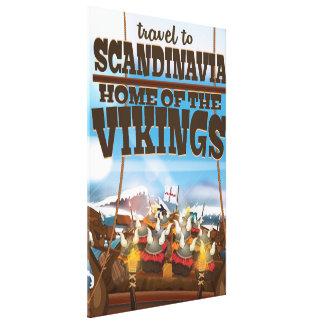 Scandinavia home of the vikings cartoon poster canvas print