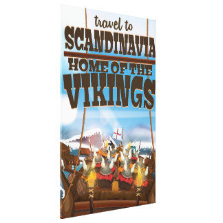Scandinavia home of the vikings cartoon poster canvas print