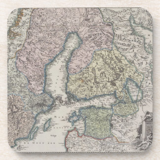 Scandinavian Antique Map Drink Coaster