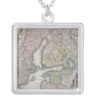 Scandinavian Antique Map Square Pendant Necklace