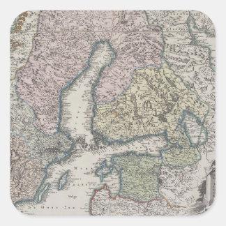 Scandinavian Antique Map Square Sticker