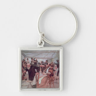 Scandinavian Artist's Luncheon Silver-Colored Square Keychain
