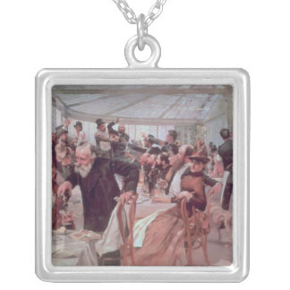 Scandinavian Artist's Luncheon Square Pendant Necklace