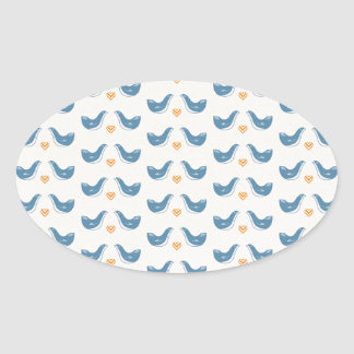 Scandinavian Birds in the Garden Theme Oval Sticker