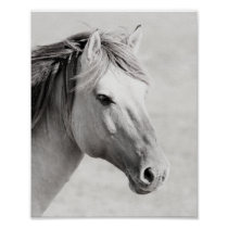 Scandinavian Black and White Horse Photography Poster