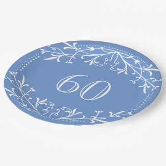 Scandinavian Blue and White 60th Birthday Party Paper Plate