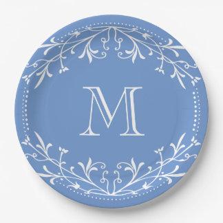 Scandinavian Blue and White Stylish Monogram 9 Inch Paper Plate