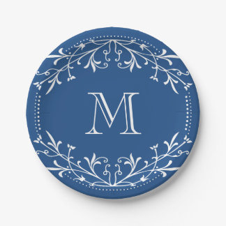 Scandinavian Blue and White Stylish Monogram Paper Plate