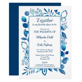 Scandinavian Blue Floral Pattern Wedding Invitation