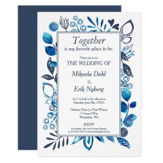 Scandinavian Blue-Gray Floral Pattern Invitation
