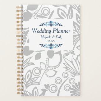 Scandinavian Blue Gray Floral Pattern Planner