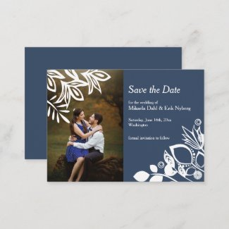 Scandinavian Blue Gray with White Flowers Advice Card
