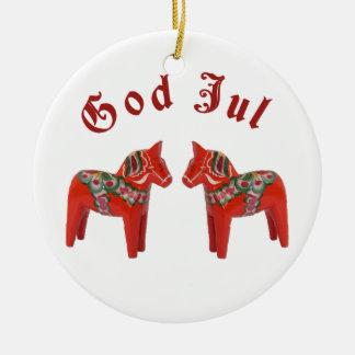 Scandinavian Christmas Dala Horse God Jul! Custom Ceramic Ornament