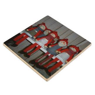 Scandinavian Christmas Dolls Maple Wood Coaster