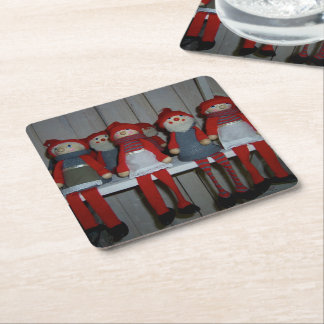 Scandinavian Christmas Dolls Square Paper Coaster