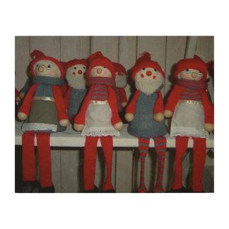 Scandinavian Christmas Dolls Wood Wall Art