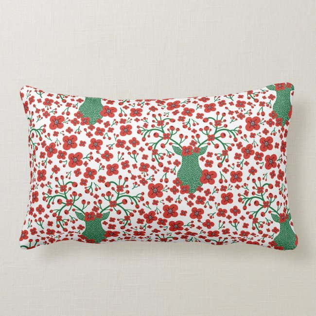 Scandinavian Christmas Floral Pattern with Antlers