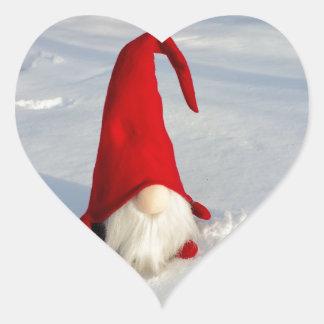 Scandinavian Christmas Gnome Heart Sticker