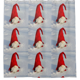Scandinavian Christmas Gnome Shower Curtain