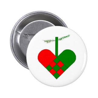 Scandinavian Christmas Heart 2 Inch Round Button