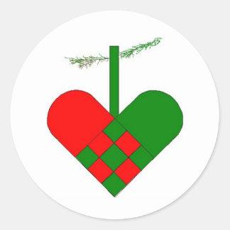 Scandinavian Christmas Hearts Classic Round Sticker