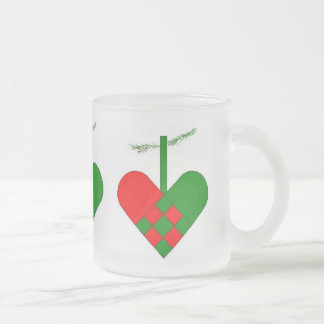 Scandinavian Christmas Hearts 10 Oz Frosted Glass Coffee Mug
