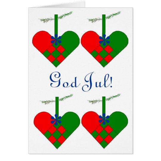 Scandinavian Christmas Hearts Personalized Card