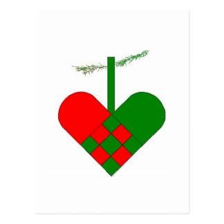 Scandinavian Christmas Hearts Postcard