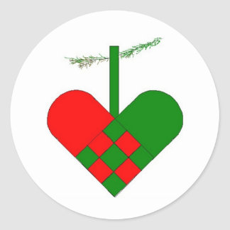 Scandinavian Christmas Hearts Round Stickers
