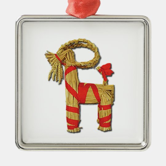 Scandinavian Christmas Straw Yule Goat Julbok Metal Ornament