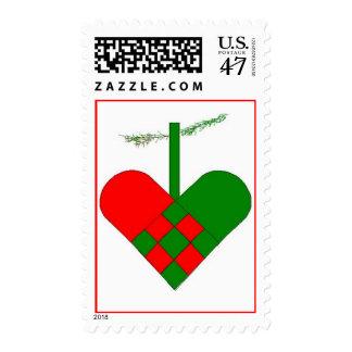 Scandinavian Christmas Woven Paper Heart Postage