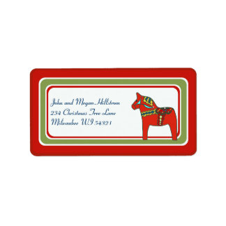 Scandinavian Dala Horse Swedish Custom Personalize Label