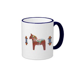 Scandinavian Dala Horse with Rosemaling Ringer Coffee Mug