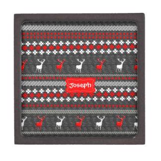 Scandinavian Deer Christmas Pattern Personalized Jewelry Box