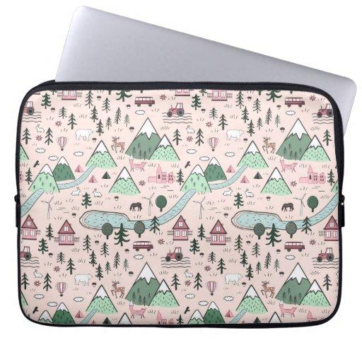 Scandinavian Farm Town Pattern Pink  Laptop Sleeve
