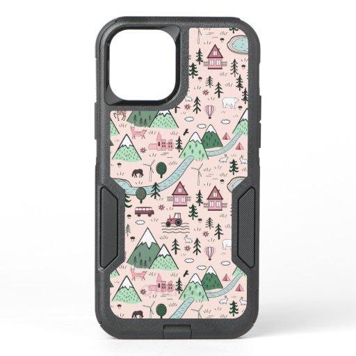 Scandinavian Farm Town Pattern Pink  OtterBox Commuter iPhone 12 Case