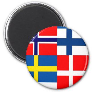 Scandinavian Flags Quartet 2 Inch Round Magnet