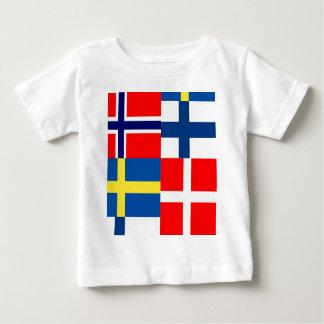 Scandinavian Flags Quartet Baby T-Shirt