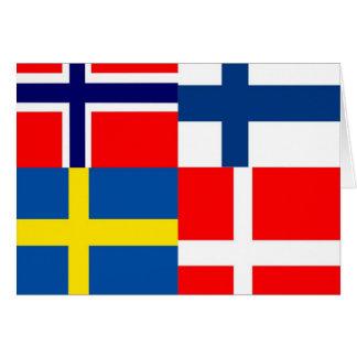 Scandinavian Flags Quartet Card