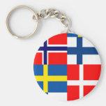 Scandinavian Flags Quartet Basic Round Button Keychain