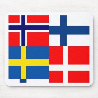 Scandinavian Flags Quartet Mouse Pad