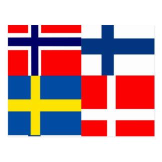 Scandinavian Flags Quartet Postcards