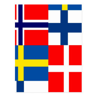 Scandinavian Flags Quartet Postcard