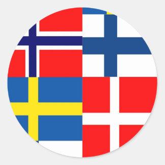 Scandinavian Flags Quartet Round Sticker