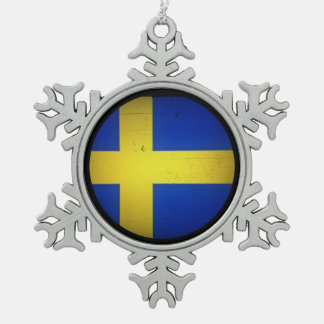 Scandinavian Flags Snowflake Pewter Christmas Ornament
